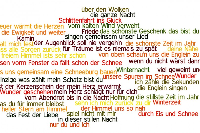 Schlager Liedtext Wordcloud